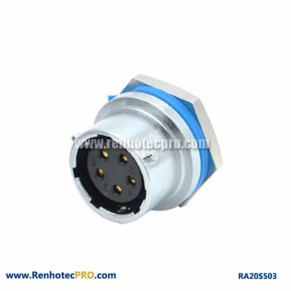5 Pin Aviation Connector RA20 Waterproof Straight Rear Bulkhead Hex Female Socket