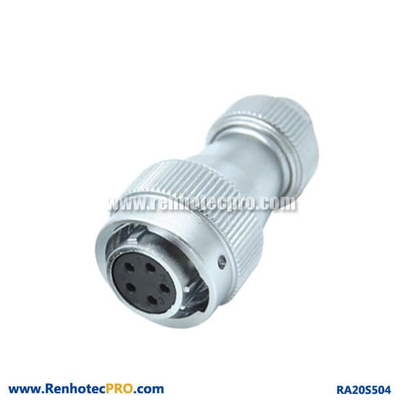 5 Pin Aviation Plug RA20 Screw Locking Weatherproof Circular Connector