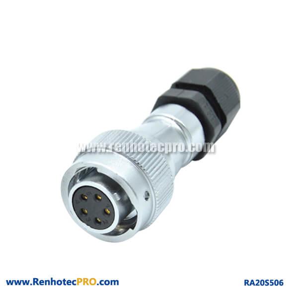 5 Pin Aviation Plug RA20 Straight PG Watertight Circular Female Connector
