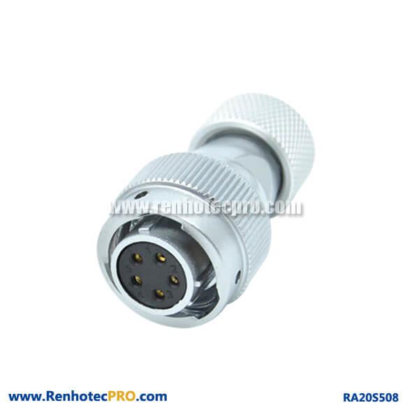 5 Pin Aviation Plug Female RA20 Metal Hose Circular Waterproof Connector