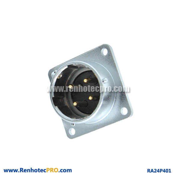 4 Pin Aviation Connector RA24 Square Flange Receptacle Waterproof Male