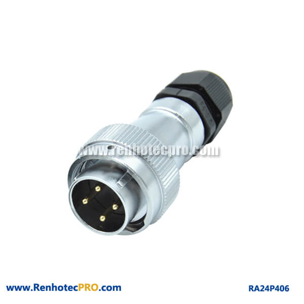 4 Pin Aviation Plug RA24 Circular Straight PG Weatherproof Male Connector
