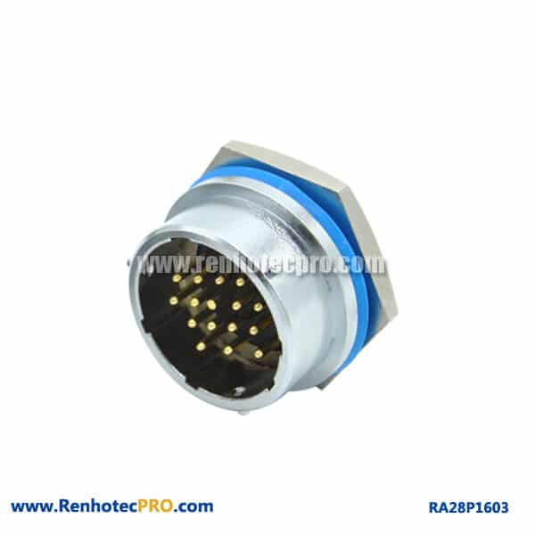 16 Pin Connector Male Socket Rear Bulkhead Hex Circular Industry RA28