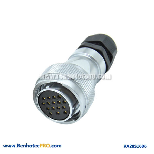 16 Pin Connector Female RA28 PG Waterproof Circular Industry Plug