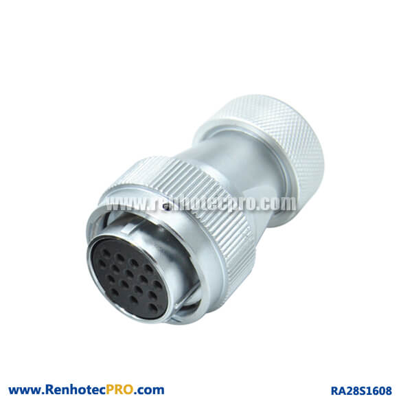 16 Pin Connector Types Metal Hose Plug Female Straight Circular Industry RA28