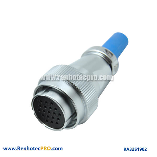 19 Pin Electrical Connector Circular Industry Weatherproof RA32 Cable Sheath Female Plug