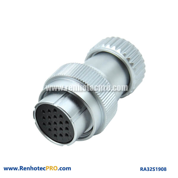 19 Pin Aviation Plug Female Watertight Industry RA32 Metal Hose Plug