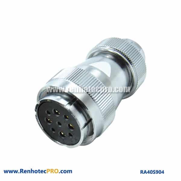 9 Pin Aviation Plug RA40 Straight Screw Locking Circular Waterproof Female Connector