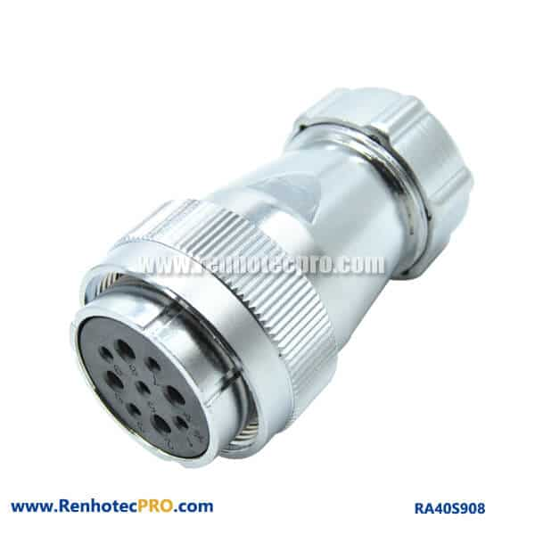 9 Pin Aviation Plug Female RA40 Metal Hose Circular Industry Connector