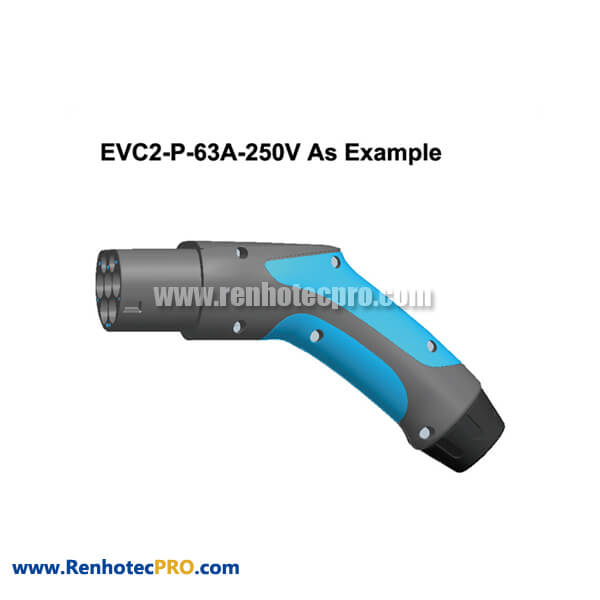 Electric Vehicle Charging Plugs EVC2 63A 250V New Energy Connector for Power Supply