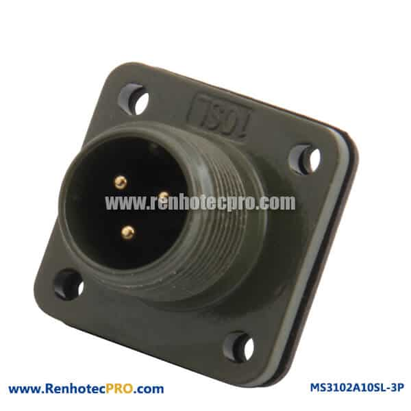 MS3102A10SL-3P 3 Pin AWG16 Cable Solder Electric Socket Terminal Connector
