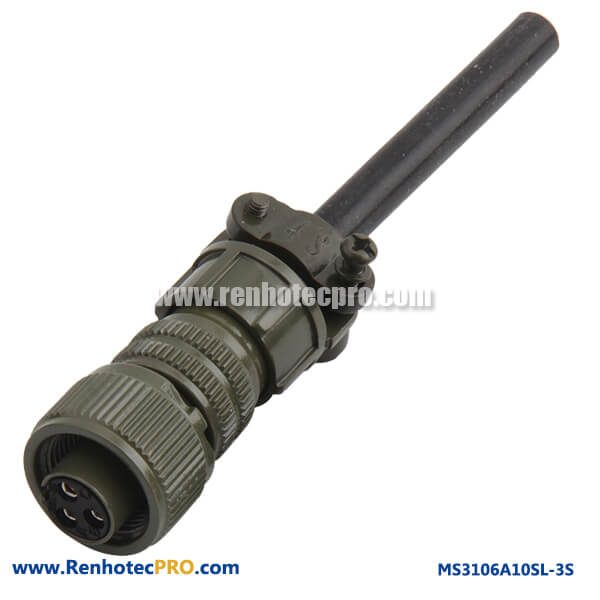 MS3106A10SL-3S 3 #16 Solder Socket Straight Plug Metal Circular Connector