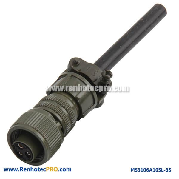MS3106A10SL-3S 3 #16 Solder Socket Straight Plug Metal Circular Connector