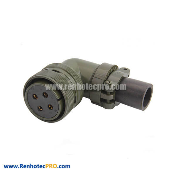 MS3108A32-17S Right Angle Plug 4 Contacts Solder Socket Threaded Connector