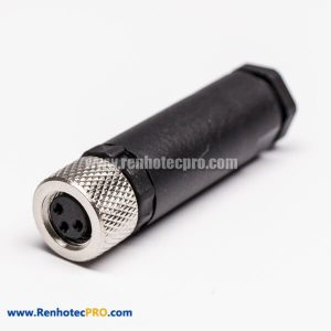 M8 3 pin A-coding Straight Female Cable Assembly Connector Plastic Plug Connector with Screw Termination
