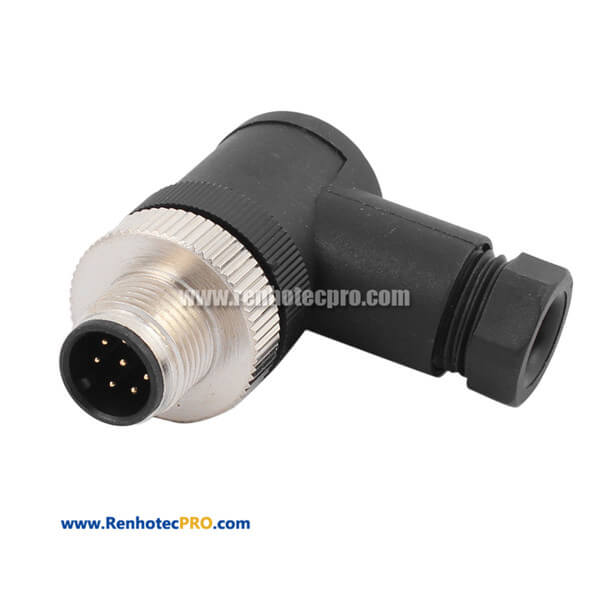 M12 8 Pin Male Plug Connector Field Wireable Connector
