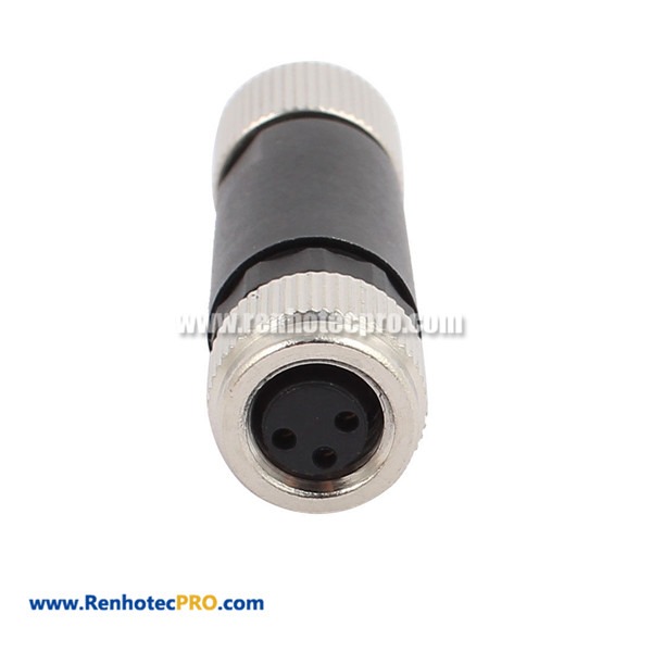 M12 3 pin Straight Female Plug Connector Field Attachable Connector