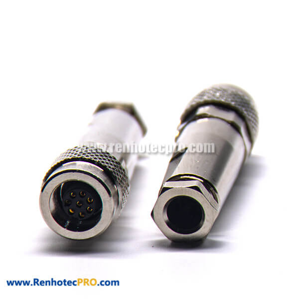 M9 8 pin Straight Female Metal Plug Field Wireable Connector