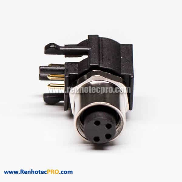 Waterproof M8 Bulkhead Connector Right Angle PCB Connector 4 Pin Panel Mount Female Socket