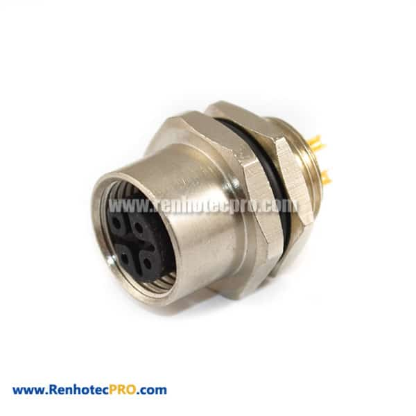 M12 4 Pole Panel Mount Connector Back Mount Female Contacts With Soldering Pin