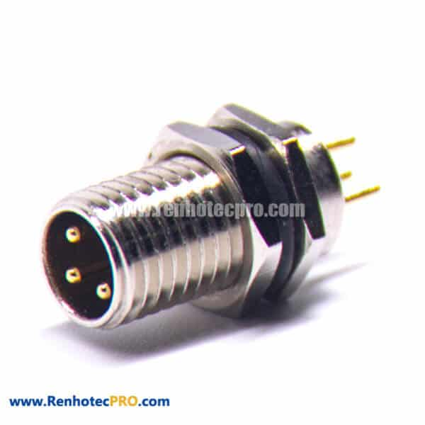 M8 Panel Mount Male Connector A-Coding Long Screw Connector 3Pin Male Front Mount PCB Socket