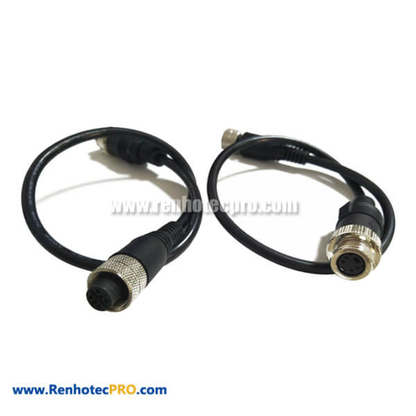 M12 4Pin Cable Female to MINI DIN 4Pin Female Cable Corsets 30CM Length AWG2