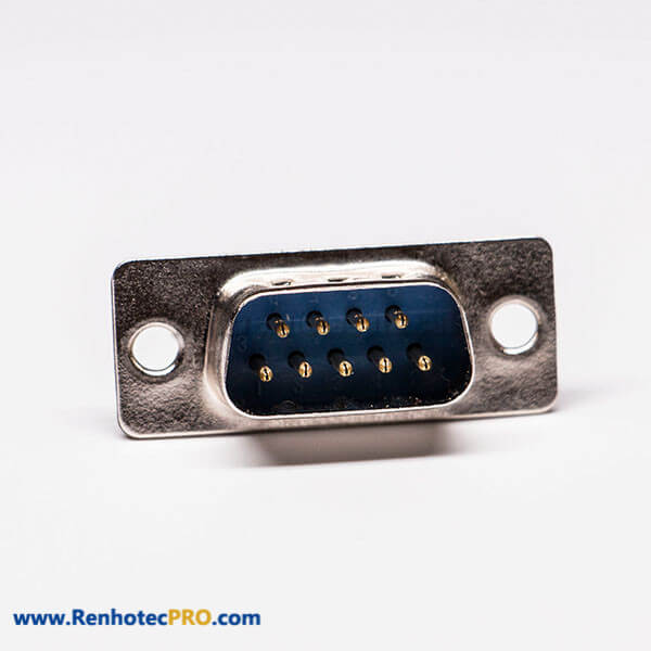 D sub 9 Pin Male Connector Straight Blue Stamped pin Cable Connector