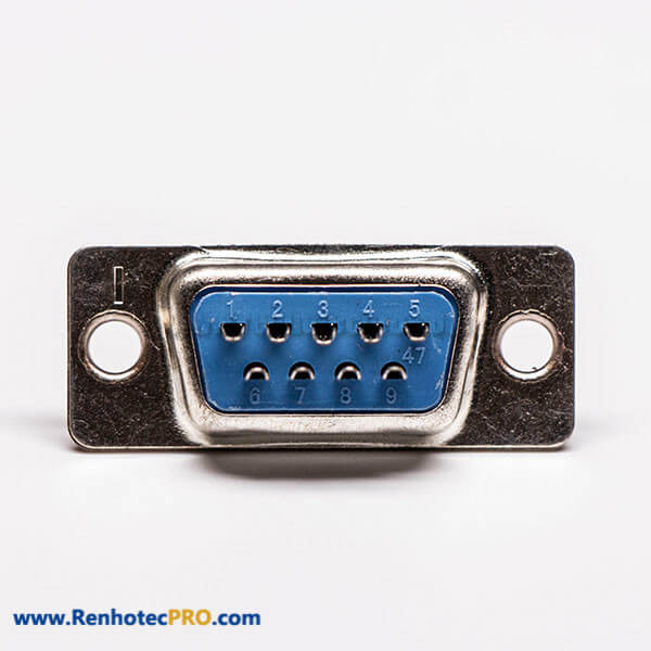 9 Pin d sub Female Connector Straight Blue Cable Connector