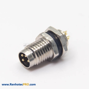 M8 4 Pin Sensor Connector Waterproof Socket Male Straight Blukhead Solder Cup for Cable