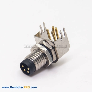 M8 Right Angle Connector Aviation Socket 4 Pin Blukhead Throught Hole for PCB Mount