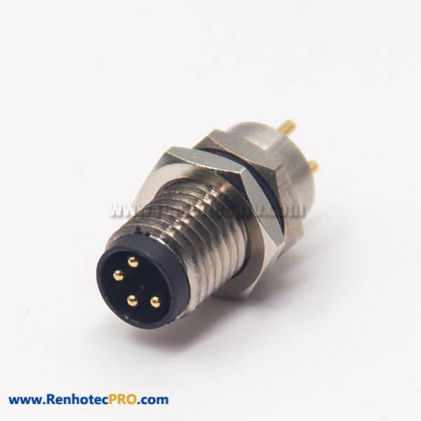 M8 Connector PCB Mount Male Socket 4 Pin Blukhead Panel Mount Waterproof