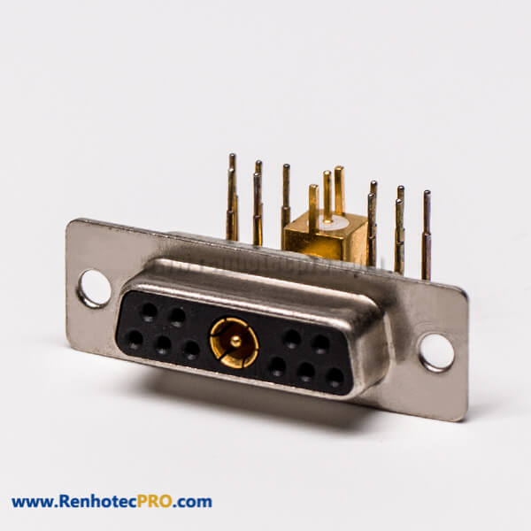 D SUB Coaxial Connector 11W1 Right Angled Solder Type Receptacle For PCB Mount