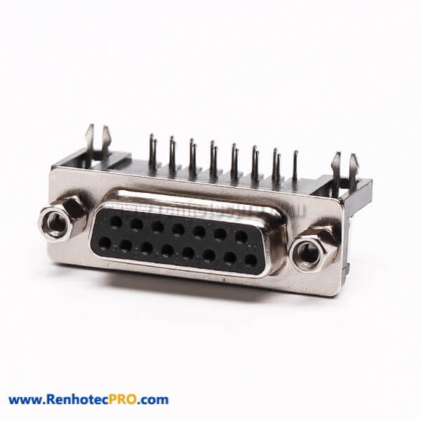 15 Pin D Sub Female Connector Right Angle Staking Type for PCB Mount