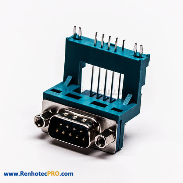 Top D Sub 9 Pin Solder Connector Male Grenn R/A Elevated Type for PCB Mount