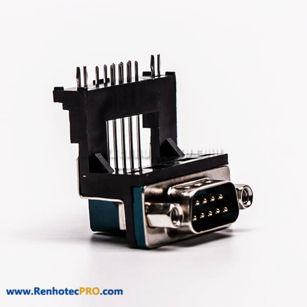 D Sub 9 Pin Solder Connector Male Right Angle 5.8 Elevated Type for PCB Mount