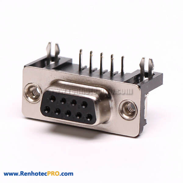 9 Pin D Sub Female Connector Right Angle Staking Type for PCB Mount