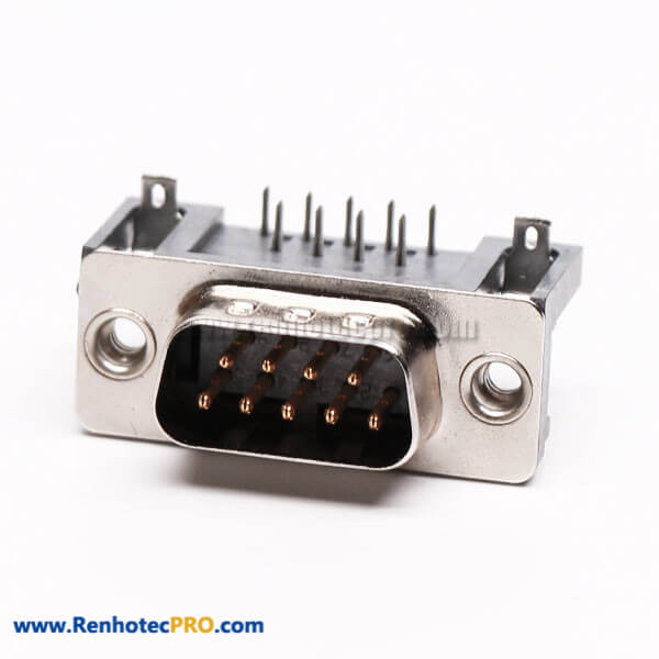 D Sub 9 Male Connector Right Angle Through Hole for PCB Mount