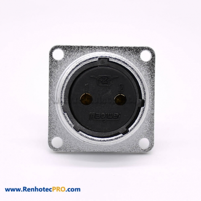 P20-2B Female 2 Pin Straight Socket Square 4 holes Flange Mounting Solder Cup for Cable