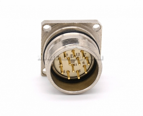 12pin connector M623 Straight Male Cable 4 Hole Flange Receptacles