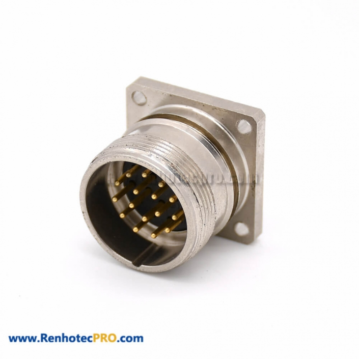 16 pin connector M623 Male Straight Cable 4 Hole Flange Receptacles