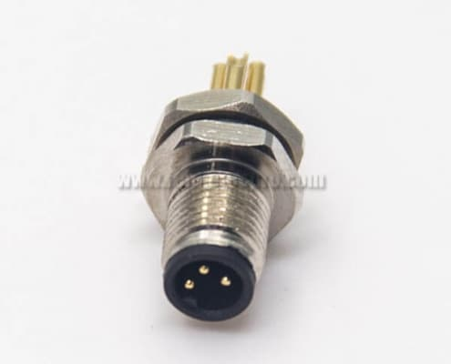 M5 Panel Mount Connector Male Waterproof 3pin Blukhead Solder Cup
