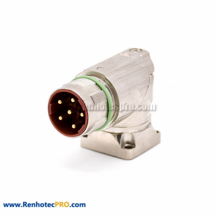 Male receptacles M40 6 Pin Right Angle 4 Hole Flange Industrial Connector
