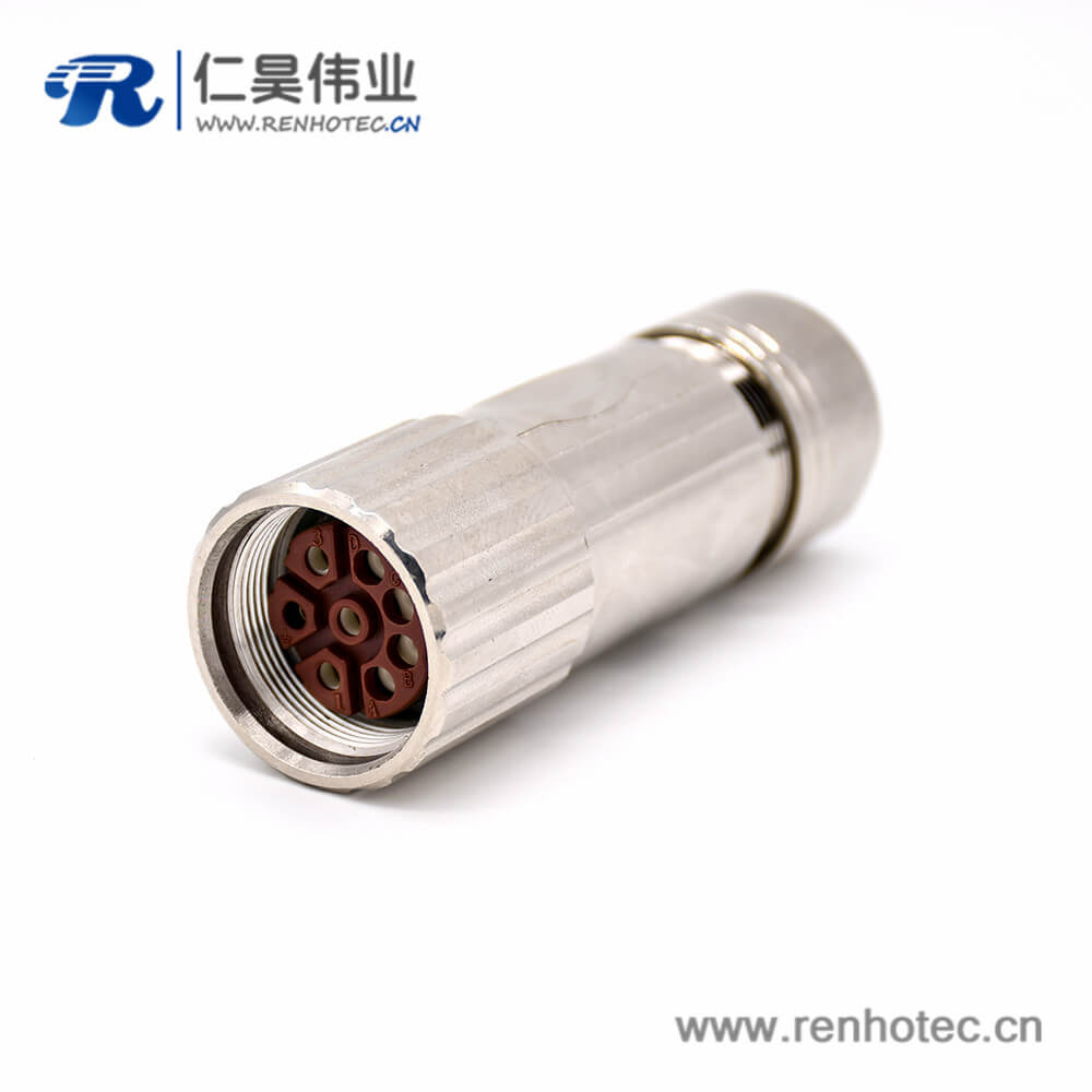 Straight Connector M40 8 Pin Female Cable Industrial Receptacles