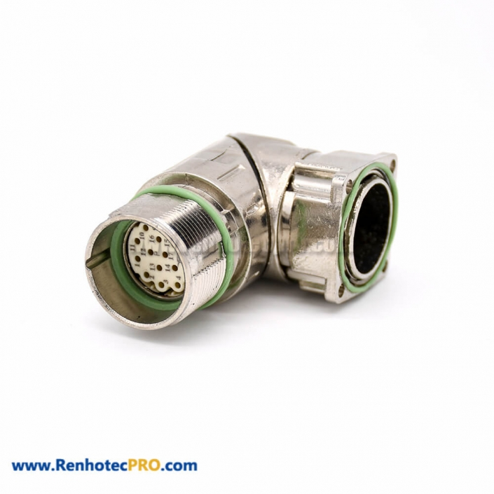 Right Angled Connector M623 17 Pin Female 4 Hole Flange Waterproof Connector