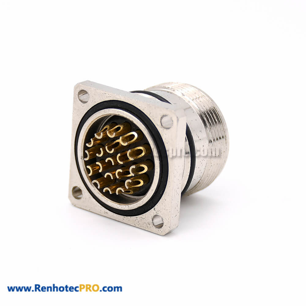 19 Pin Connector M623 Straight Male Cable 4 Hole Flange Receptacles