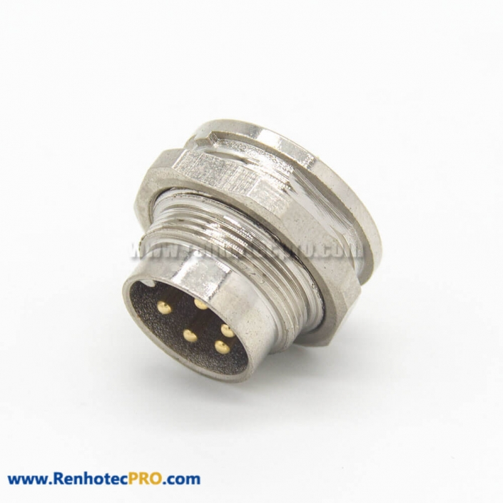 M16 5 Pin Connector 180 Degree Male Socket Front Bulkhead Panel Mount for Solder Cup