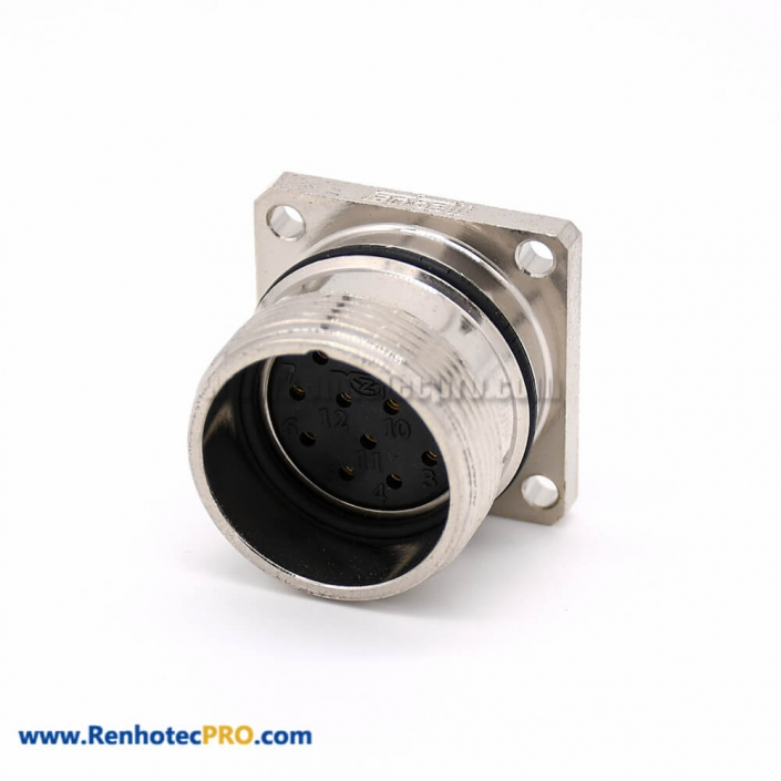 Female Connections M623 Straight Cable 4 Hole Flange Cable Receptacles