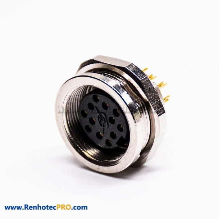 M16 Socket 12 Pin 180 Degree Female Connector Solder Cup for Cable