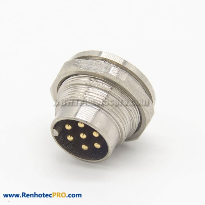 M16 Male Connector 7Pin Straight Socket Front Bulkhead Panel Mount for Solder Cup