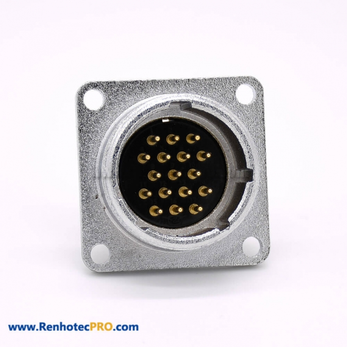17 Pin Connector P24 Male Straight Socket Square 4 holes Flange Mounting Solder Cup for Cable